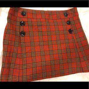 Gap rust plaid mini skirt size 10